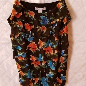 Black floral spaghetti strap top size large